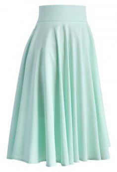 Creamy Pleated Midi Skirt in Mint - Skirt - Bottoms - Retro, Indie and Unique Fashion Modest Dresses, Modest Outfits, Classy Outfits, Skirt Outfits, Pretty Outfits, Midi Flare Skirt, Pleated Midi Skirt, Unique Fashion, Mint Skirt