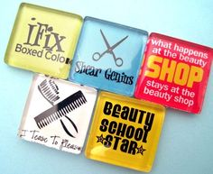 hair stylist sayings and quotes | Hair Stylist Funny Glass Magnets Set - Cosmetology - Inch Glass ...