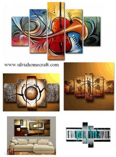 Hand painted group paintings for home decoration. Large wall art, canvas painting for bedroom, dining room and living room. Multi Canvas Painting, Canvas Paintings For Sale, 5 Piece Canvas Art, Modern Art Paintings, Acrylic Wall Art, Painted Canvas, Hand Painting Art, Abstract Wall Art, Canvas Wall Art