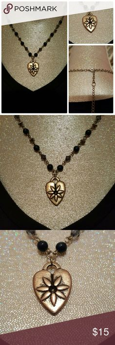 """Amazing Necklace This is an amazingly beautiful Necklace, beading with a heart pendant that has tiny gemstones within of unknown origin. Measures approximately 24"""" with extender. Jewelry Necklaces"""