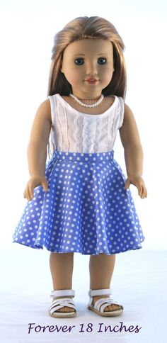 """18"""" Doll Clothes fits American Girl Doll: Pintucked Woven Tank Top and Polka Dot Circle Skirt   Pintucked Woven Tank Top and Polka Dot Circle Skirt by Forever18Inches on Etsy. Made with the Not! For Knits Circle Skirt pattern, found at http://www.pixiefaire.com/products/not-for-knits-circle-skirt-18-doll-clothes. #pixiefaire #notforknitscircleskirt"""