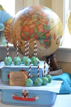 Welcome to the World baby shower - globe cake pops (too bad Alison already had hers) Baby Shower Themes, Baby Boy Shower, Shower Ideas, Globe Cake, Travel Baby Showers, Party Fiesta, Airplane Party, Travel Party, Welcome To The Party