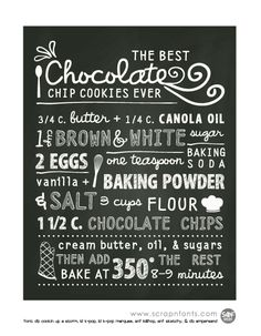 FREE printable chocolate chip cookie recipe in chalk