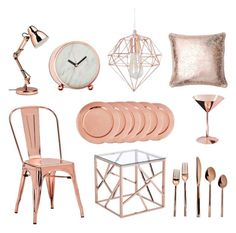 Rose gold home accessories featured on Suburban Chic blog.