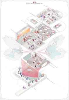 Yah Chuen Shen, AA Diploma 5 - Gaming Oubliette, The Spectacle of Infinite Dimensions, 2015 Architecture Presentation Board, Architecture Board, Architecture Drawings, Architecture Design, Architecture Diagrams, Memorial Architecture, Architecture Collage, Axonometric Drawing, Isometric Drawing