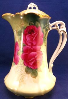 Antique Bavarian Chocolate Pot Cocoa Pitcher Hand Painted Red Roses Victorian | eBay