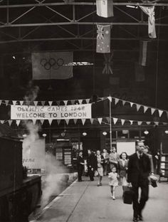 Fenchurch Street Station decorated for the Olympic Games, London, 1948,