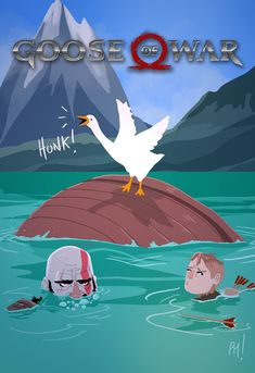 Goose has officially taken over the world (Art by pandamusk) Crazy Funny Memes, Really Funny Memes, Funny Webcomics, Kratos God Of War, Video Game Memes, Fnaf Characters, Top Memes, Gaming Memes, Funny Games