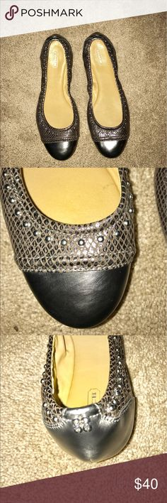 """Coach silver gray tone flats Coach flats with """"C"""" medallion in the back and round studs around the shoe. In excellent condition. Very little signs of wear. Coach Shoes Flats & Loafers"""
