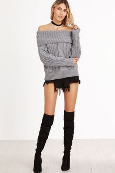 Grey Boat Neck Fold Over Cable Knit Sweater