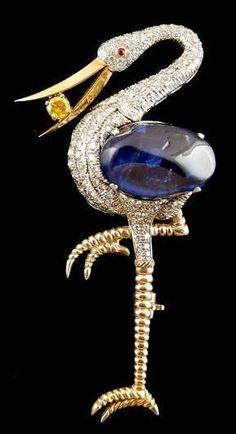 Yellow Gold Diamond & Sapphire Bird Brooch: