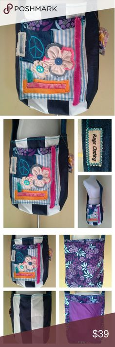 """Boho 3-D Patchwork Large Crossbody Cotton fabrics and denim work it to go with lots of outfits. Denim strap is 41.5"""" long x 2.5"""" wide. 3-D flowers and buttons embellish the large front outer pocket. A sassy purple floral interior, with large pocket inside. Rags Clothing Bags Crossbody Bags"""