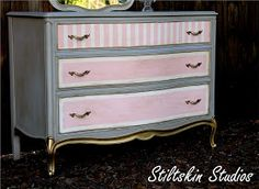 Gray pink chest of drawers