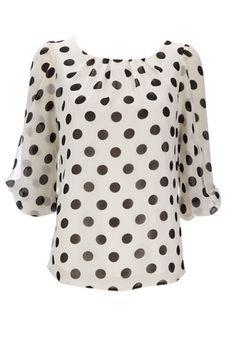 Black Polka Dot Petite Top - View All Petite Clothing  - Petite Polka Dot Blouse, Polka Dot Top, Petite Tops, Denim Flares, Petite Outfits, Fashion Seasons, Black Dots, Types Of Sleeves, Long Sleeve Tops