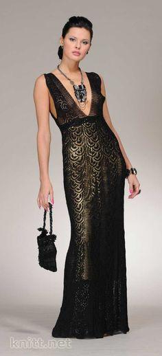 vestido longo croche preto - Pesquisa Google