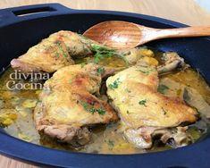 muslos de pollo en salsa Pollo Guisado, Canapes, Chicken Recipes, Pork, Turkey, Meat, Cooking, Chocolate Blanco, Foodies