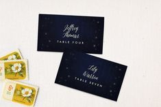 """""""Outside"""" - Rustic Wedding Place Cards in Navy by Rebecca Bowen."""