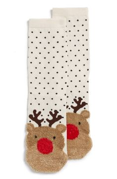 Adding extra holiday cheer this season with these adorable socks that are decorated with fluffy reindeer and polka dots. These would be perfect for keeping the toes warm while lounging around the house. Socks World, Rudolph Red Nose, Holiday Socks, Hallmark Holidays, Cozy Socks, Little Christmas, Christmas Stuff, Fashion Socks, Christmas Shopping