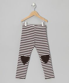 Look at this #zulilyfind! Million Polkadots Brown Stripe Lovely Heart Leggings - Toddler & Girls by Million Polkadots #zulilyfinds