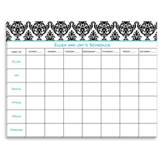 White and Black Madison Damask Calendar
