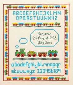 Trains Birth Sampler Cross Stitch Kit by Daisy Designs