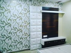 Lcd design by wood working idea Lcd Unit Design, Lcd Panel Design, Tv Wall Design, Door Design, Contemporary Tv Units, Modern Tv Wall Units, Bedroom Bed Design, Home Decor Bedroom, Lcd Units