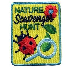 Nature Scavenger Hunt Fun Patch. This colorful Nature Scavenger Hunt fun patch is a great reminder of the fun your Girl Scouts had during your hike, camping trip or wherever you held your scavenger hunt. Available at MakingFriends.com