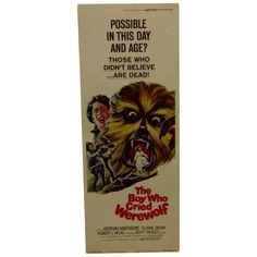 """""""The Boy Who Cried Werewolf"""" Vintage Movie Poster (£54) ❤ liked on Polyvore featuring home, home decor, wall art, posters, star poster, vintage posters, star wall art, vintage wall art and star picture"""