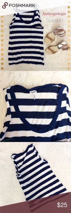 """❣️NEW ARRIVAL❣️✨Anthropologie Tank Top✨ Striped tank top by Anthropologie ~ Splendid. 🔸colors: navy / white 🔸 light wear🔸57% polyester/ 43% modal 🔸size: xs 🔸length: 23"""" 🔸bust: 15 1/2"""" + stretch 🌟 I accept REASONABLE offers ✨ 💠 You receive %15 off 2+ bundles 💕 💫 Next day shipper 💫  HAPPY POSHING 🍹 Anthropologie Tops Tank Tops"""