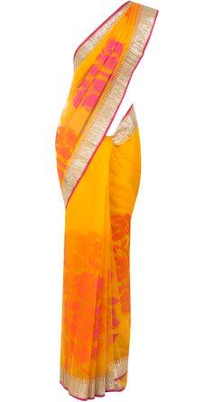 EKAYA - Mango yellow banarasi net sari - - yellow Banarasi net sari with pink and orange roses. Indian Wedding Outfits, Indian Outfits, Wedding Sari, Indian Attire, Indian Wear, Modern Saree, Saree Trends, Simple Sarees, Elegant Saree