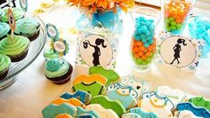 @ jennifer Gunter......Boy baby shower.  love these colors - turquise, orange and green for the shower, no sports or animals just bright fun colors!!