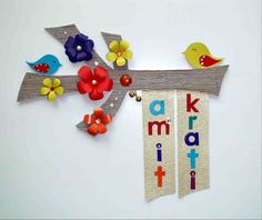diy door name plate paper flowers cut outs - Decorative Name Plates For Home