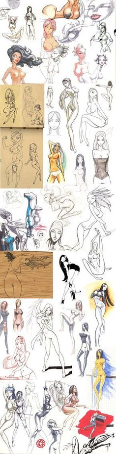 Many different sketches of women - female body study - drawing reference