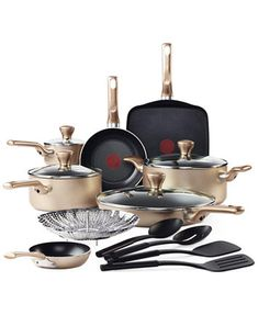 T Fal Culinaire Champagne 16 Piece Cookware Set Cookware