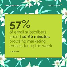 57% of email subscribers spend 10-60 minutes browsing marketing emails during the week. – ChoozOn #ifactory #ifactorydigital  #emailmarketing #digitalmarketing #digital #edm #marketing #statistics  #email #emails