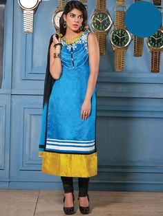 Grandiose sky blue color silk Kameez with golden patch hemline will definitely touch your soul.  Item Code : SLMM1005  www.bharatplaza.com/new-arrivals/salwar-kameez.html