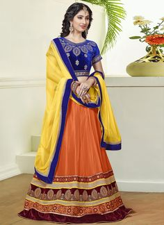 http://www.sareesaga.in/index.php?route=product/product&product_id=20756 Work	:	Embroidered Patch Border Work	 Style	:	A - Line Lehenga Shipping Time	:	10 to 12 Days	 Occasion	:	Party Festival Fabric	:	Net	 Colour	:	Orange For Inquiry Or Any Query Related To Product,  Contact :- +91 9825192886