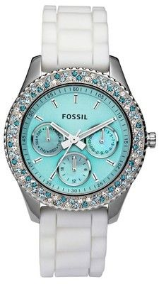 tiffany blue fossil watch- I love the color but white bands never ever stay white...they always get grungy looking fast. Tree.www.ALocket2Love.OrigamiOwl.com https://www.facebook.com/ALocket2Love Designer # 39868