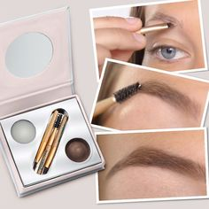 Keep brows groomed, add color, depth and highlights with the Bitty Brow Kit. It contains three brushes, a transparent botanical brow wax and pigmented brow powder. The brow wax leaves behind no sticky residue and the powder is water resistant making it easy to create budge-proof brow looks. It's also the perfect size to fit into any bag and even colors grey hairs!
