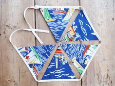 Blue Boat Bunting / Banner / Pennant / by annasbluebellblue Bunting Banner, Banners, Blue Boat, Hanging Photos, Color Harmony, Home Decor Fabric, Etsy Handmade, Small Businesses, Photo Props