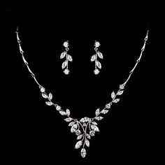 Simple Leaf Bridal Crystal Wedding Jewellery Set, Cubic Zirconia Necklace and Ea. Simple Leaf Bridal Crystal Wedding Jewellery Set, Cubic Zirconia Necklace and Earrings Set - - Body Jewelry, Fine Jewelry, Bridal Earrings, Bridal Jewellery, Indian Bridal Jewelry Sets, Earrings Uk, Prom Jewelry, Jewellery Shops, Diamond Jewellery