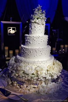 "A lovely cake by Sarah's Cakes for a ""WInter Wonderland"" Wedding at the Ritz Carlton"