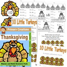 This Thanksgiving Turkey Rhyme and Maths resource pack is differentiated so it can be used with all abilities ranging from Pre-Kindergarten to First Grade!   Included in this resource pack you will find the following: 10 Little Turkeys PowerPoint Slideshow (.pps file)  This introduces/revises simple subtraction using rhyme. A song sheet (colored and grayscale) This can be used for the teacher or sent home for the child to share with grown-ups. Turkey Counting Cards 1 to 10 (colored and gr