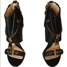 Moschino shoe boot sandals Brand new size 8 Moschino sandals - black leather with gold hardware. Working zippers. Very sexy on! Moschino Shoes Heels