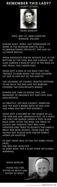 The Amazing Irena Sendler -- she is perhaps a little known name, but she saved the lives of approx. 2500 Jewish children during the Nazi Holocaust. (Faith In Humanity Restored) Irena Sendler, I Look To You, Just Dream, Good People, Amazing People, Inspiring People, Amazing Women, Amazing Person, Beautiful Person