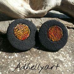 Cernit polymer clay earings. Ink, crackles, handmade