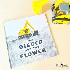 If you have a lot of boys on your caseload, 🙋🏼♀️ then this is a great book to use in speech, especially in the spring/summer. With construction machines and flowers it is a great mix 🚜🌻-It's about a sweet digger that starts tending to a flowers but things take a twist when the other machines get involved. -This book does a great job showing emotional changes in characters and has some pretty easy to spot points of change in the story.