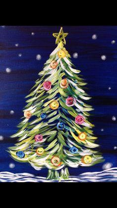 christmas tree night New Ideas For Christmas Tree Painting Canvases Kids Christmas Tree Canvas, Christmas Paintings On Canvas, Christmas Tree Painting, Christmas Rock, Winter Painting, Diy Painting, White Christmas, Image Painting, Painting Canvas