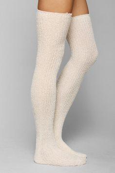 Fuzzy Lurex Over-The-Knee Sock