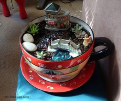 Fairy garden in a latte cup